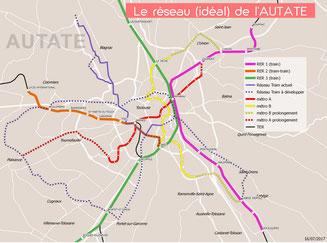Pour l'Autate, 3 lignes de RER pour compléter le réseau Tisséo existant