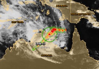 Tropical Cyclone Lam track and cloud cover. From European Commission, http://www.gdacs.org/