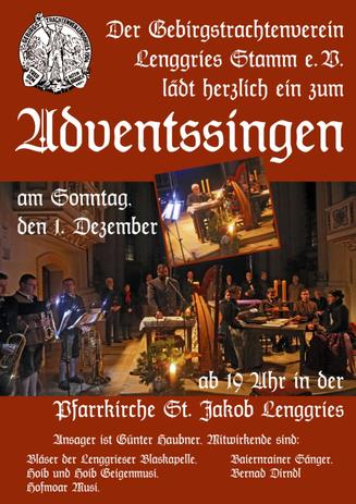 Einladung zum Adventsingen in Lenggries