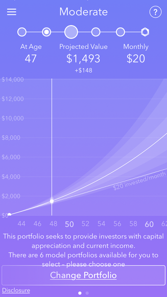 Projected value in 5 years time if I leave in Acorns to grow.