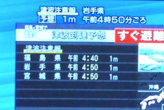 地震による津波注意報が岩手県、福島県、宮城県に出ています