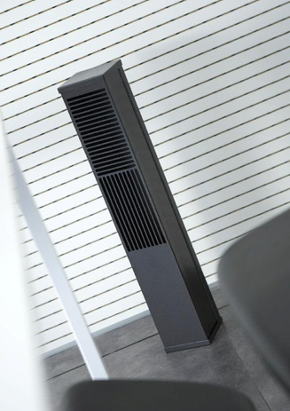 Vertical air diffuser for underfllor air system