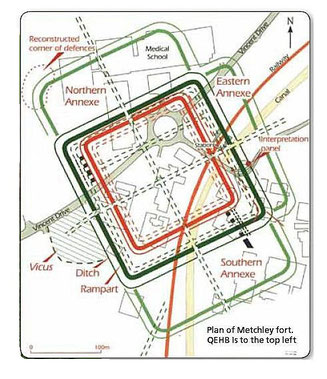 Plan of Metchley fort with modern roads superimposed