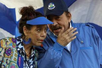 Daniel Ortega og hans kone vicepræsident Rosario Murillo Zambrana