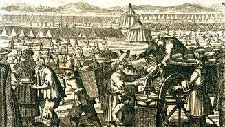 """Unterbringung und Verpflegung der """"Poor Palatines"""" in einem Zeltlager in Blackheath bei London, Sommer 1709. © Sammlung Deutsches Auswandererhaus"""