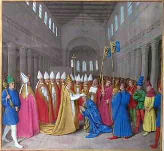 Sacre de Charlemagne, tel qu'imaginé par Fouquet au XVe siècle