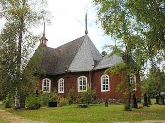 Holzkirche in Blockbauweise -  Blockhaus Tradition - Massivholzhaus -  Finnland - Blockhausbau - Holzbau - Bautradition - Holzarchitektur