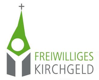 Das Logo der landeskirchlichen Kirchgeld-Aktion, verbunden mit unserem Mengeringhäuser Markenzeichen - dem schiefen Kirchturm. Damit Kirche aktiv und lebendig bleibt.