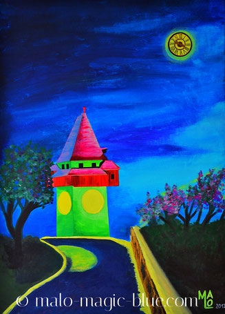 acryl, andenken, bauwerk, blau, geheimnisvoll, gemälde, graz, historisch, kunst, magisch, malerei, mond, nacht, schlossberg, steiermark, surreal, surrealismus, tourismus, turm, turmuhr, uhr, uhrturm, vollmond, wahrzeichen,  Ziffernblatt,  Österreich