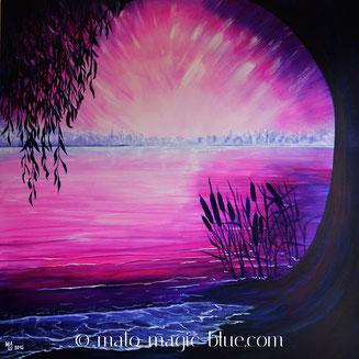 MaLo 2016 * Purple Dream * Original Acrylbild auf Keilrahmen 100 x 100 cm, € 210,--