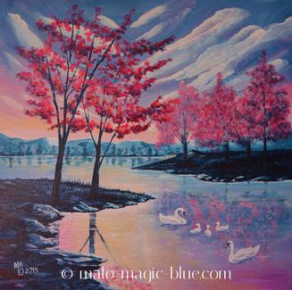 MaLo 2015 * Schwanensee * Original Acrylbild auf Keilrahmen 50 x 50 cm, verkauft
