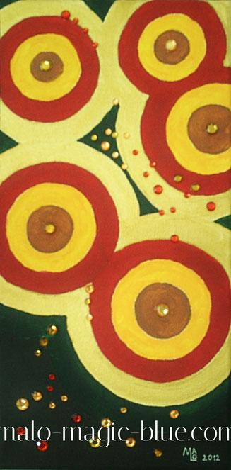 Mario, Lorenz, Graz, Kunst, Künstler, Maler, Acryl, Bild, Gemälde, rot, braun, gold, grün, Schmucksteine, glänzend, Glanz, Ruhe, schön, rund, Kreise, repräsentativ, selten, günstig, kaufen, harmonisch, Österreich, beliebt, Galerie,  sammeln, Sammlung,