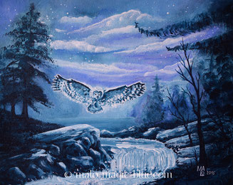 MaLo 2015 * Nachtflug * Original Acrylbild auf Keilrahmen 30 x 24 cm, € 64,--