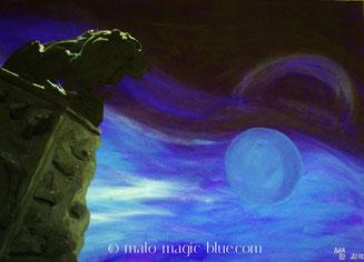 acryl, andenken, blau, geheimnisvoll, gemälde, graz, historisch, kunst, magisch, malerei, nacht, schlossberg, steiermark, surreal, tourismus, Wahrzeichen, Löwe, Steinfigur, Denkmal, Hackher, Major, Napoleon, Bonaparte, Kanonenkugel, Weitblick,