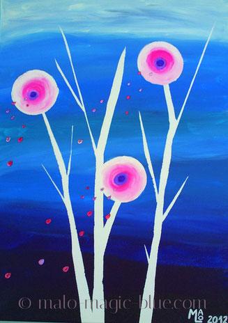 Mario, Lorenz, magic, blue, blau, weiß, schwarz, pink, rosa, lila, violett, rund, abstrakt, Kreise, Blumen, Blüten, Samenkörner, stilisiert, Stillleben,  Nacht, Mond, Mondblume, fantastisch, schön, harmonisch,  Fantasie, Kunst, Künstler, Graz, Steiermark,