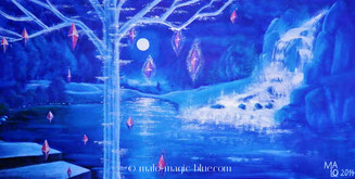 Mario, Lorenz, Graz, Steiermark, Österreich, Kunst, Künstler, magic, blue, blau, pink, grün, Wasser, See, Baum, Diamanten,  Nacht, romantisch, Wasserfall, Felsen, Mondschein, Fantasy, Landschaft, geheimnisvoll, goß, anders, ungewöhnlich, neu, beliebt, gut
