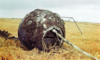 """Спускаемый аппарат корабля """"Восток"""" после приземления"""