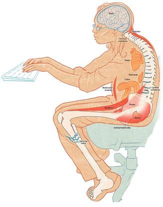 mauvaise posture assise psoas ostéopathe arènes toulouse
