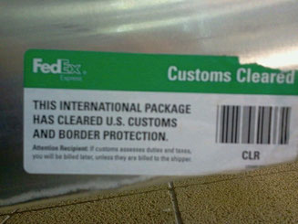 Label showing the crate had been officially cleared by U.S. Customs