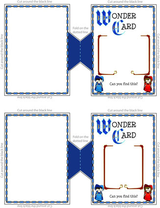 The wonder card template with boxes for landscape and portrait images.