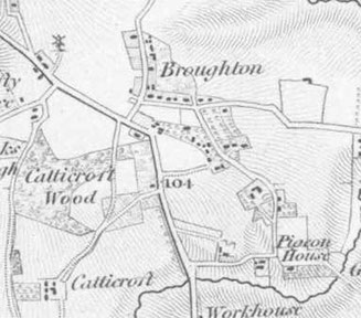 An old map of Drakes Broughton
