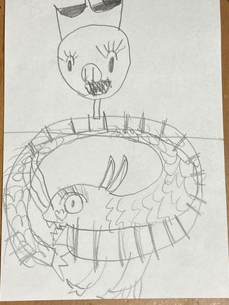 娘が描いた豚と龍
