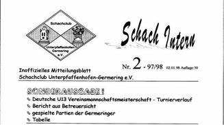 1997 Leider die letzte Ausgabe der Schach Intern als Sonderausgabe (die Homepage stand kurz vor ihrer Fertigstellung )