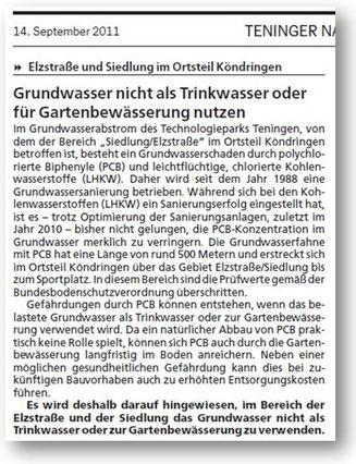 """Mitteilung in den """"Teninger Nachrichten""""  .............    Zum Vergrößern bitte auf das Bild klicken"""