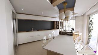 Conception d'une cuisine avec vue sur la baie d'Antibes