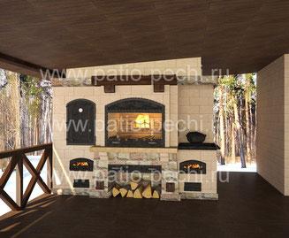 Фото печного комплекса с коптильней горячего копчения, мангалом, вертелом, плитой под казан