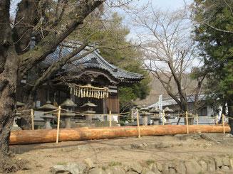 祢津建事神社と御柱