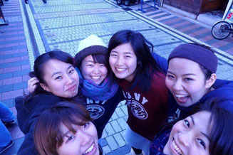 Hachinura poses for photo with her friends who took part in the competition together
