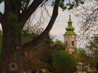 der grün verblechte Kirchturm von Nadasdiadany