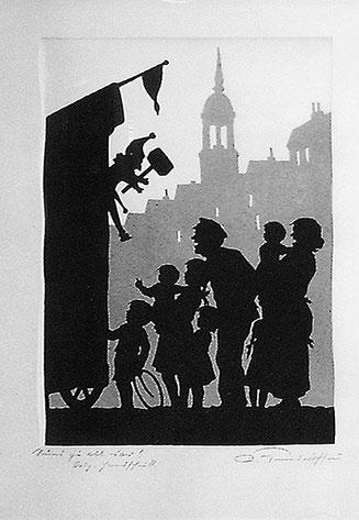 Orig. Handschnitt  (Scherenschnitt) von Paul Friedrichsen um 1960