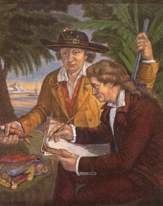 جارج با پدرش یوهان راینهولد فارسترز در تاهیتی؛ ۱۷۸۰