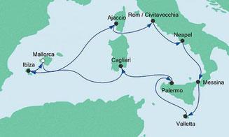 AIDA AIDAstella Italien Mittelmeer Mittelmeerinseln Mallorca Korsika Sizilien Malta Sardinien Ibiza