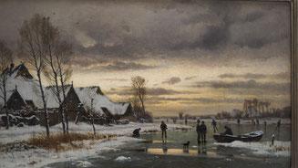 Bild: Carl Malchin, Winterlandschaft mit Eisläufern um 1890