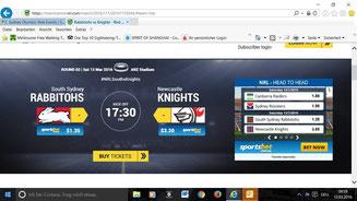 Bild: Eintrittskarte für ein Rugby-Spiel in Sydney