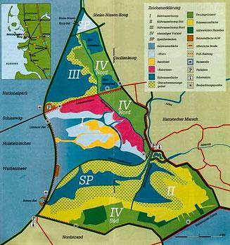 Bild: Karte des Naturschutzgebietes Beltringharder Koog
