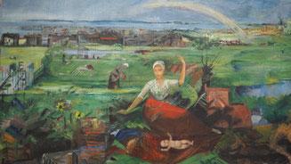 Bild: Alfred Partikel, Landschaft mit Regenbogen 1922