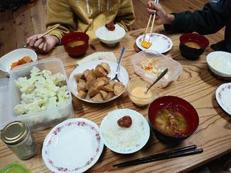 蒸したカリフラワー、里芋の煮っころがし、残り物タッパー…ある日の夕食。