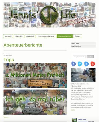 Blog Jimdo Jannis' Life Abenteuer-Berichte Tipps Ausrüstung Jannis Riebschläger