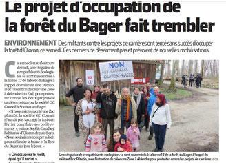 Samedi 19 mars 2016 une ZAD dans la forêt du Bager d'Oloron
