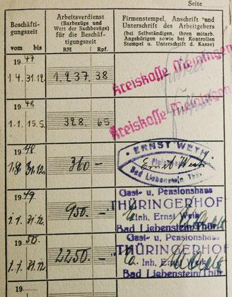 Versichertenausweis von Lisa Weih - Sammlung Tochter C.Rönsch