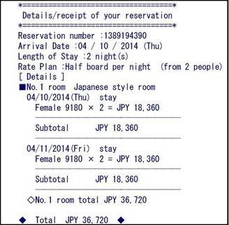 Le reçu de la réservation en ligne depuis le site de l'auberge