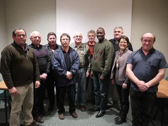 André O. Todjé en compagnie des membres du CA de l'association Grand-Lieu/Nokoué et  des membres des conseils municipaux de Saint-Lumine-de-Coutais et Saint Philbert de Grand Lieu