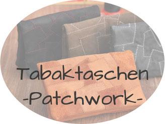Tabaktaschen aus Leder in Patchwork
