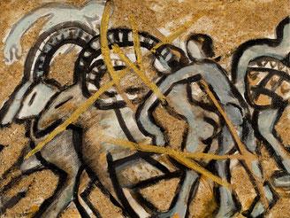 Die Jagd, 2017, Acryl, Gold und Sand auf Nessel, 30cm x 24cm