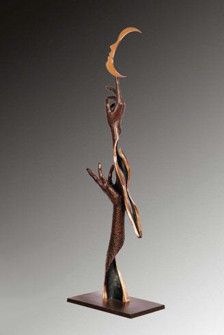 Danse a la Lune, bronze sculpture Jean-Louis Landraud
