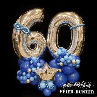 G 036 - Big Birthday Balloon, (3-teilig) aus 1m großen Zahlen und ca. 130 hochwertigen Latexballons im modernen organic Stil - 89,90€